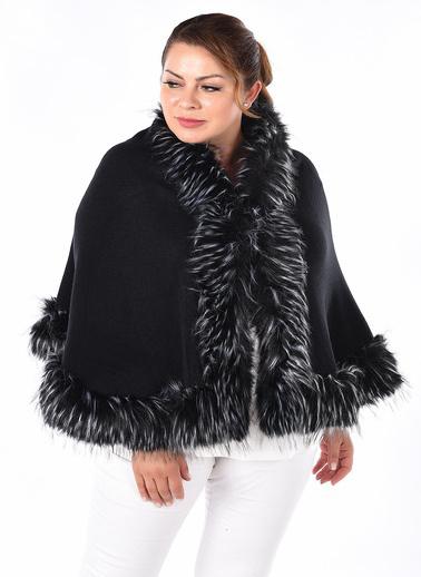WHIP Design Düz Şal Yaka Uzun Kol Viskon Pelerin Siyah